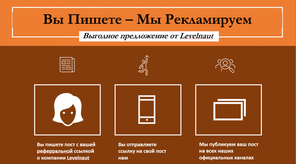 Интересное предложение для партнёров Levelnaut https://levelnaut.com/you-write-we-promote-rus/