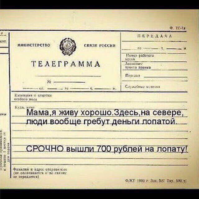 наступает телеграмма с поздравлением по почте из-за
