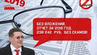 БЕЗ ВЛОЖЕНИЙ. Отчет за 2019 год. 238 242 руб. без скамов!